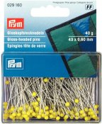 029160 PRYM - Glas huvud pin 43x0,60 mm 40g. GULA Glass-headed Pins 43 x 0.60 mm yellow