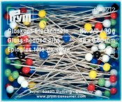 029212 PRYM - Glas Pin blandade färger 48 x ,0,80 mm 30 g. Glass-headed Pins No. 2/0 assorted col 0.80 x 48 mm