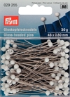 029255 PRYM - Pin glashuvud 48 x 0,80 mm Vit 30 gram No.2 Glass-headed Pins No. 2/0 white 0.80 x 48 mm