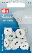 301244 PRYM - Linne knappar 15mm 18 st VITA Linen Buttons 15 mm white