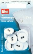 301245 PRYM - Linne knappar 17 mm 16 st VITA Linen Buttons 17 mm white
