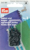 263851 PRYM - Hyska och Hake No3 Svart 12 st  Hooks and Eyes brass 3 black