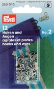263845 PRYM - Hyska och Hake No2 Silver 12 st  Hooks and Eyes brass 2 silver col