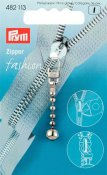 482113 PRYM - Jacklås Silver kjedja Fashion Zipper pullers Ball chain metal silver col