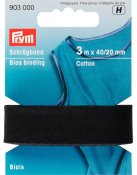 903000 PRYM - Snedremsa Bomull 40/20 mm SVART 3 m Bias Binding Cotton 40/20 mm black