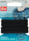956005 PRYM - Resårband av velour med knapphål 15mm, 1M Buttonhole Elastic Velour Tape 15 mm black