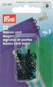 263849 PRYM - Hyska och Hake No1 Svart 12 st  Hooks and Eyes brass 1 black