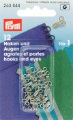263844 PRYM - Hyska och Hake No1 Silver 12 st  Hooks and Eyes brass 1 silver col