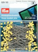 029 153 - PRYM - Pin glashuvud 43 x 0,60 mm Gula 20 gram