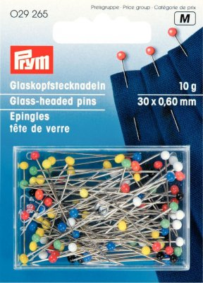 029265 PRYM - Pin glashuvud 30 x 0,60 mm olika färger 10 gram Glass-headed pin 30x0.60 si-col col 10g