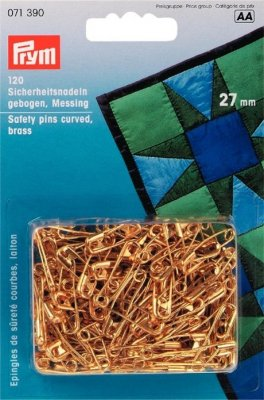 071390 PRYM - Säkerhetsnålar 27 mm, 120 st Guld  Safety pins br 27mm curved go-col 120pc