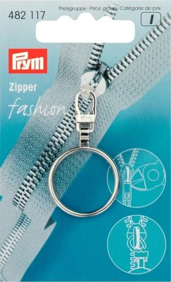 482117 PRYM - Dragkedjehänge Silver Ring Fashion Zipper pullers Ball chain metal silver col
