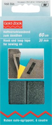 968556 PRYM - Kardborreband fastsys svart 20 mm, 1,20M  Hook and Loop Tape for sewing on 20 mm black
