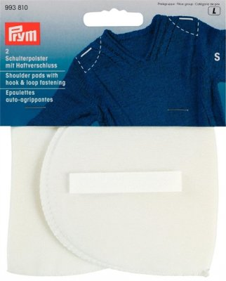 993815 PRYM - Axelvadd inlägg med fästanordning vit M - L Shoulder pads Set-in with hook and loop fastening white M - L
