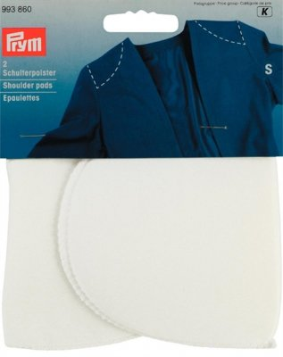 993860 PRYM - Axelvadd inlägg utan fästanordning VIT 2 st Shoulder pads Set-in without hook and loop fastening white S