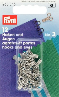 263846 PRYM - Hyska och Hake No3 Silver 12 st  Hooks and Eyes brass 3 silver col