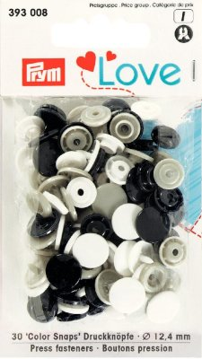 393008 PRYM - Love Color Snaps blandade 30 st  10 st Svarta, 10 st Grå, 10 st Vita  Prym Love Color pl.press 12.4mm  Denna produ