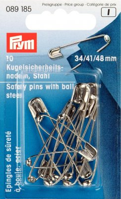 089185 PRYM - Säkerhetsnålar nr 1,2,3, silverfärgade  Safety Pins with ball HT 1-3 silver col 34/41/48 mm