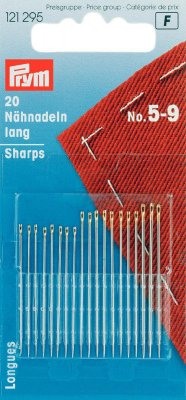 121295 PRYM - Handsy nålar sharps blandat no. 5-9 med Guld öga 20 st  Hand Sewing Needles sharps 1-5 assorted silver col with go