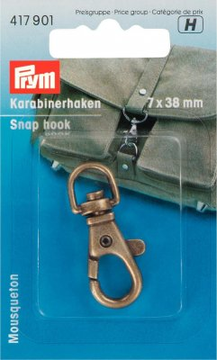 417901 PRYM - Karbinhake liten 7x38 mm Brons  Snap hook 7 x 38 mm antique brass