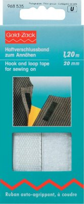 968535 - PRYM - Kardborreband fastsys VIT 20 mm, 1,20 M  Hook and Loop Tape for sewing on 20 mm white